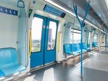 MRT的内部,它是在巴生谷的最新的公共交通系统从Sungai Buloh对Kajang 库存照片