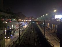 MRT during night time Royalty Free Stock Photos