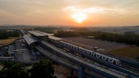 MRT Post van de MASSA de Snelle Doorgang in Kwasa Damansara Royalty-vrije Stock Afbeelding