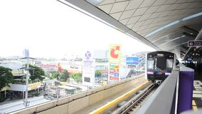 MRT Purple Line at Bangyai station running go to bangkok stock footage