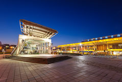 MRT Songshan Airport station at night. Night view of MRT Songshan Airport station in Taipei, Taiwan Stock Photo