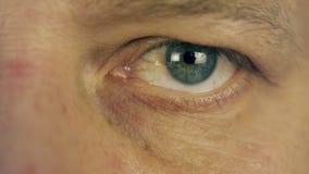 Mrugać mężczyzna oko Obsługuje lewego oka ekstremum zakończenie w górę makro- widoku męskiej twarzy mężczyzna read Przyglądająca  zdjęcie wideo