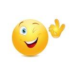 Mrugać emoticon pokazuje ok znaka Obraz Royalty Free