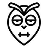 Mruganie sowy głowy ikona, konturu styl royalty ilustracja
