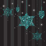 Mrugliwe Gwiazdy i Dreidels Karta Hanukkah Obrazy Stock