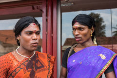 Ms. Abinaja and Ms. Sheila are Hijras. Chettinad, India - October 17, 2013: Portrait of Ms. Abinaja and Ms. Sheila, both Hijras, transgender persons. Hijras are Stock Photos