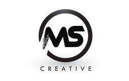 Ms Brush Letter Logo Design Logotipo cepillado creativo del icono de las letras Foto de archivo libre de regalías