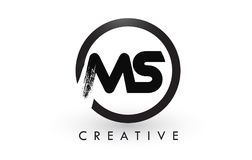 MS Brush Letter Logo Design Logotipo escovado criativo do ícone das letras Foto de Stock Royalty Free