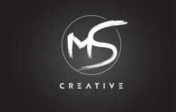 Ms Brush Letter Logo Design Logotipo manuscrito artístico C de las letras Imágenes de archivo libres de regalías