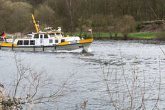 MS Bussard boat in use for water protection. Stock Photo