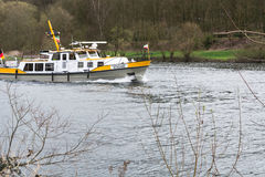 MS Bussard boat in use for water protection. Royalty Free Stock Image