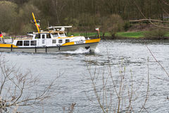 MS Bussard boat in use for water protection. Stock Photography