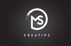 MS Circular Letter Logo com projeto da escova do círculo e preto Backg Fotos de Stock Royalty Free