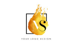Ms Gold Letter Logo Painted Brush Texture Strokes Immagini Stock