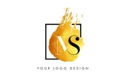 Ms Gold Letter Logo Painted Brush Texture Strokes Imagenes de archivo