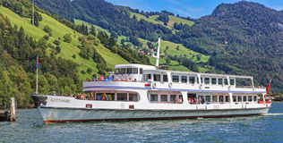 MS Gotthard at the pier on the Lake Alpnachersee Royalty Free Stock Images