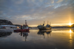 Ms hamen being towed. Tug Frier and tug Skilsø have attached the hawsers and tows now Ms Hamen (which is a historic vessel built in 1949 in UK) from Halden Royalty Free Stock Photo