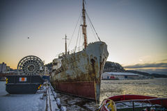 Ms hamen (in the bow). MS Hamen is a Norwegian ship who have docked in Iddefjord on Helle which is located on the Swedish side of Iddefjord. Ms Hamen is a Royalty Free Stock Images
