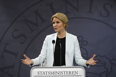 Ms.Helle Thonring-Schmidt danish PM. COPENHAGEN /DENMARK-Ms.Helle Thorning-Schmidt  holds her monthly press conference at PM office Mirror Halll Christiansborg Royalty Free Stock Image