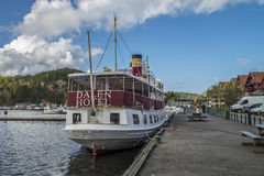 MS Henrik Ibsen docked at the port of Halden Stock Photos