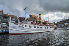 MS Henrik Ibsen docked at the port of Halden Stock Photos
