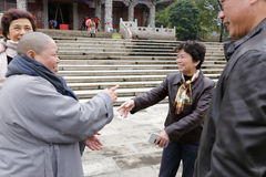 Ms huangjiaoling visit meishan temple Royalty Free Stock Images