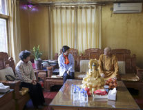 Ms huangling meet dingheng abbot. One of xiamen city leaders ms huangling visit the abbot of guanyinsi temple dingheng before the spring festival, 2015 Royalty Free Stock Images