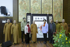 Ms huangling meet fayun abbot Royalty Free Stock Photo
