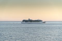 MS Jewel of the Seas at sunset. Off Sicily in the mediterranean Royalty Free Stock Photography