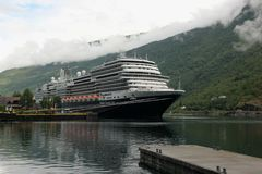 MS Koningsdam. The cruise liner MS Koningsdam docked at the village of Flam, Norway Royalty Free Stock Photography
