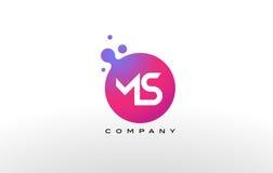 Ms Letter Dots Logo Design con las burbujas de moda creativas Fotografía de archivo