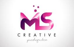 Ms Letter Logo Design con i colori porpora ed i punti Fotografia Stock