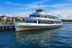 MS Limmat at a pier on Lake Zurich Stock Photos