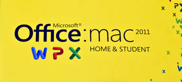 MS Logo of Office Mac 2011 Home & Student edition. Logo of MS Office Mac 2011: Home & Student edition on a yellow color background Stock Photography