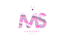 Ms m s alphabet letter logo pink purple line icon template vecto Stock Photography