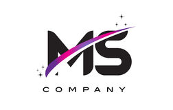 MS M S Black Letter Logo Design with Purple Magenta Swoosh. And Stars Stock Photo