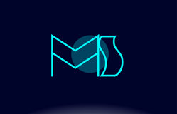 Ms m s blue line circle alphabet letter logo icon template vecto Stock Images