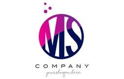 Ms M S Circle Letter Logo Design con Dots Bubbles púrpura Fotos de archivo libres de regalías