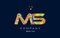 Ms m s colorful alphabet letter logo icon template vector Stock Images
