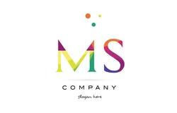 Ms m s  creative rainbow colors alphabet letter logo icon Stock Photo