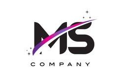 MS M S Czarnego listu loga projekt z Purpurowym Magenta Swoosh royalty ilustracja