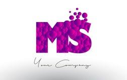 Ms M S Dots Letter Logo con textura púrpura de las burbujas Fotos de archivo