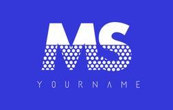 Ms M S Dotted Letter Logo Design con el fondo azul Foto de archivo