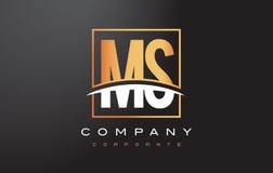 Ms M S Golden Letter Logo Design con el cuadrado y Swoosh del oro Foto de archivo