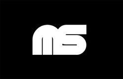 MS M S black white bold  joint letter logo Royalty Free Stock Image