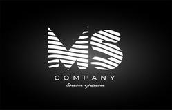 MS M S letter alphabet logo black white icon design Royalty Free Stock Photos
