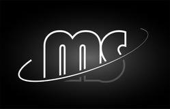 MS M S letter alphabet logo black white icon design Stock Image