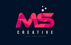 Ms M S Letter Logo con concepto rosado polivinílico bajo púrpura de los triángulos Fotografía de archivo