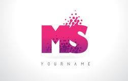 Ms M S Letter Logo con el color y las partículas púrpuras rosados Dots Des Imagenes de archivo