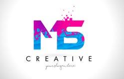 Ms M S Letter Logo con la textura rosada azul rota rota Desig Fotografía de archivo